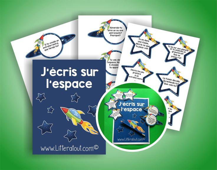 Sujets d'écriture J'écris sur l'espace (6-7 ans)   Au cours de cette activité, les élèves rédigent des courts textes en choisissant parmi les sujets d'écriture proposés sur le thème de l'espace et de la rentrée.