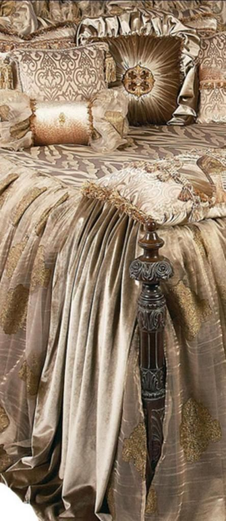The Angelique bedding collection is all about creating an inviting respite. The fabrics are a subtle combination of velvets, animal patterns and shimmery metallic organza. The pillows are sumptuously adorned with beading, Swarovski crystal trims, flat braids and ruffles. Luxury at it's finest! Our over sized bedding is designed to fit the larger beds of today with ample drop on both the duvet and the dust skirt.