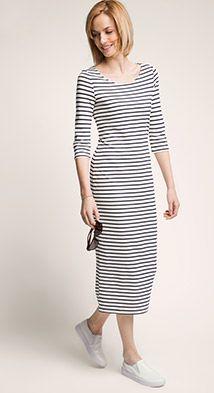 Esprit / Smalle jersey jurk in een gestreepte look