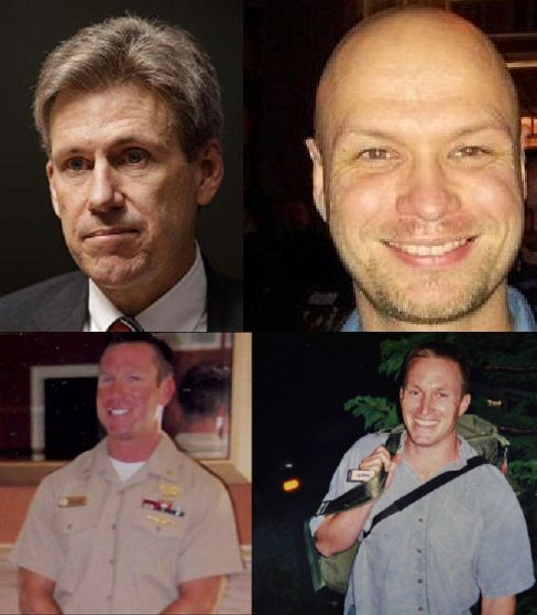 "OBAMA LEFT 4 AMERICANS TO DIE IN BENGHAZI -- Wesley Pruden, editor emeritus of The Washington Times, nails it: ""This is a very different White House than any the country ever had before. We've left Americans to die before, when there was no alternative ... but no president before this one left Americans to die, begging for help, just to save an election."" Clockwise from top left: Amb. Christopher Stevens, Sean Smith, Glen Doherty, Tyrone Woods. [...] 05/10/13"