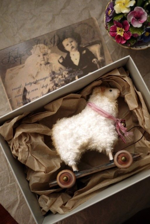 KatyaPanayisArtDolls a perfect gift for the shelf for a sheep lover or woolly hearted friend is this cute vintage style miniature rustic pull along toy to keep their yarn stash safe when they are away from home