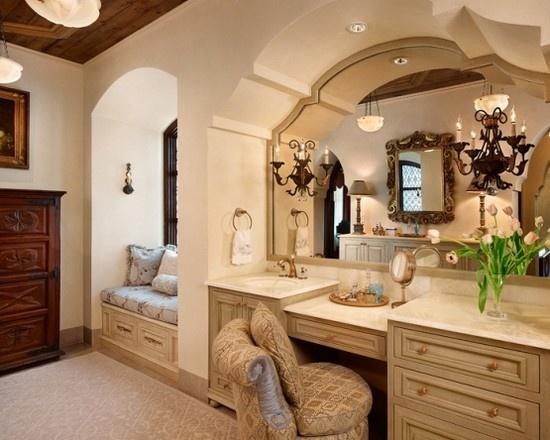 spanish style master bath her vanity wowza pinterest