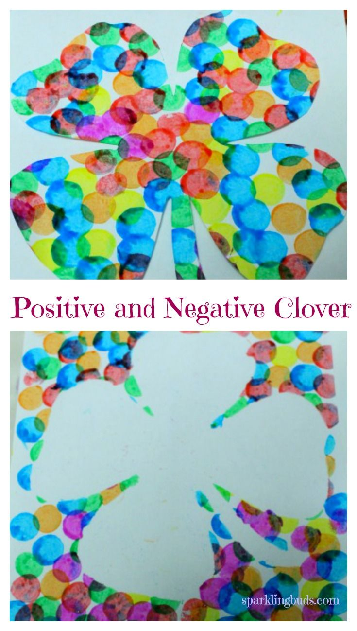Used do a dot markers to paint these positive and negative clover art. It is one of the simplest St.Patrick's day crats