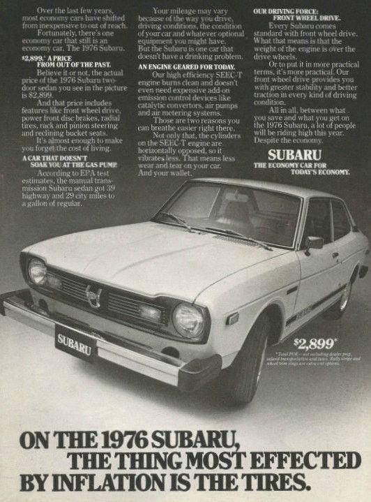 "1976 Subaru Sedan Car Ad ""Inflation"""