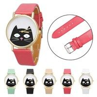 Wish | Cat Women Men Leather Band Analog Quartz Dial Wrist Watch