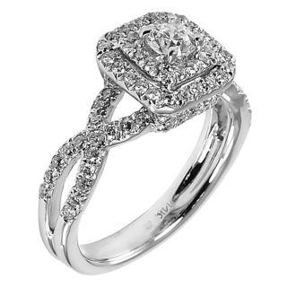 Best k White Gold ct TDW Double Halo Braided Diamond Ring G H I I