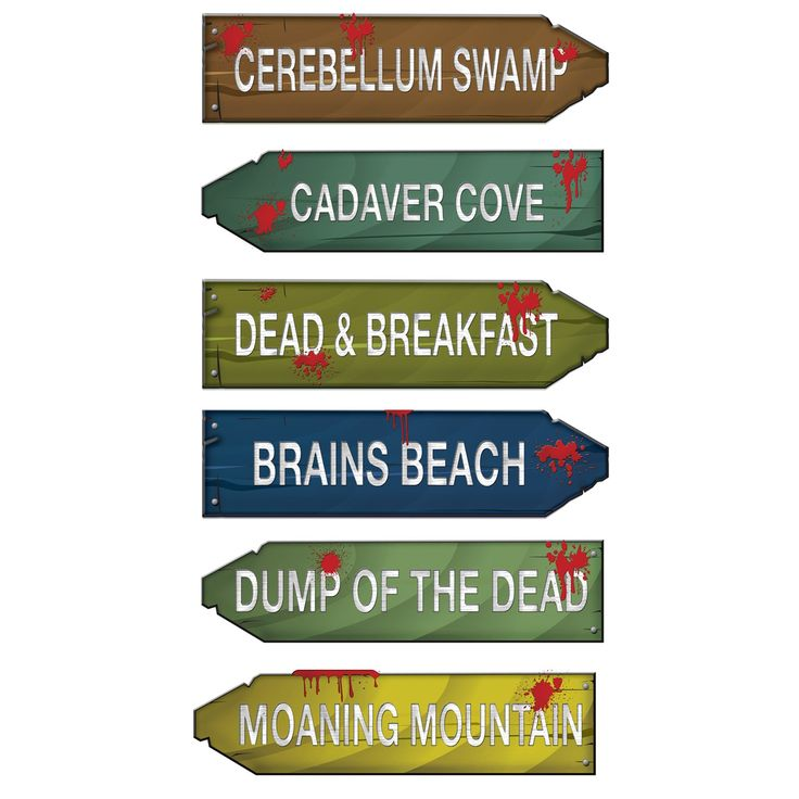 Zombie Zone Directional Arrows (6).  This set includes 6 assorted arrows; each measures 8.25 cm x  33 cm.  Just the thing for your spooky, Halloween or monster party  cardboard; set of 6