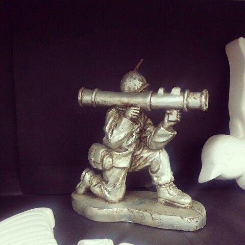 Silver Army man candle