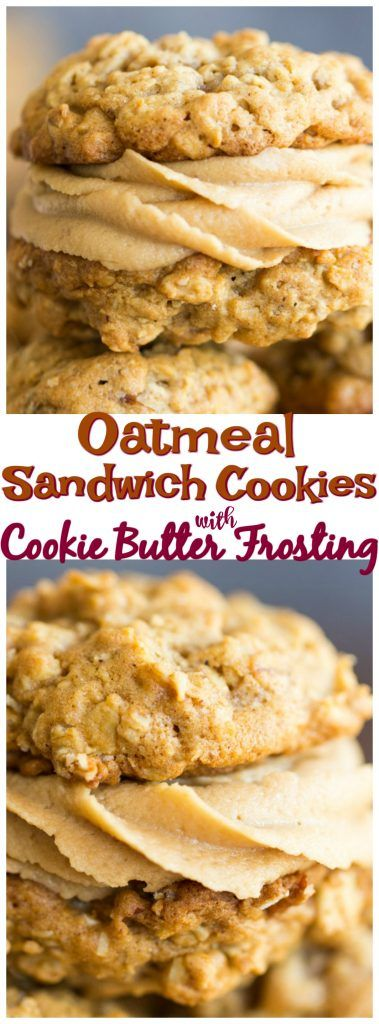 These Oatmeal Sandwich Cookies with Cookie Butter Frosting feature soft, chewy, buttery oatmeal cookies, heavy on cinnamon, filled with a rich, fluffy frosting made from Biscoff spread!