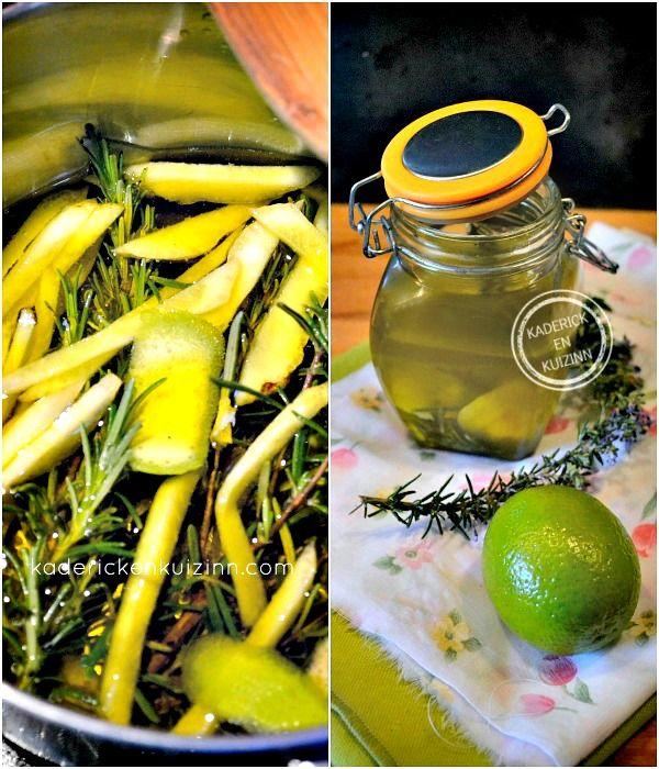 Préparation Huile d'olive aromatisée aux agrumes et romarin pour marinade ou cuisson à la plancha chez Kaderick en Kuizinn©