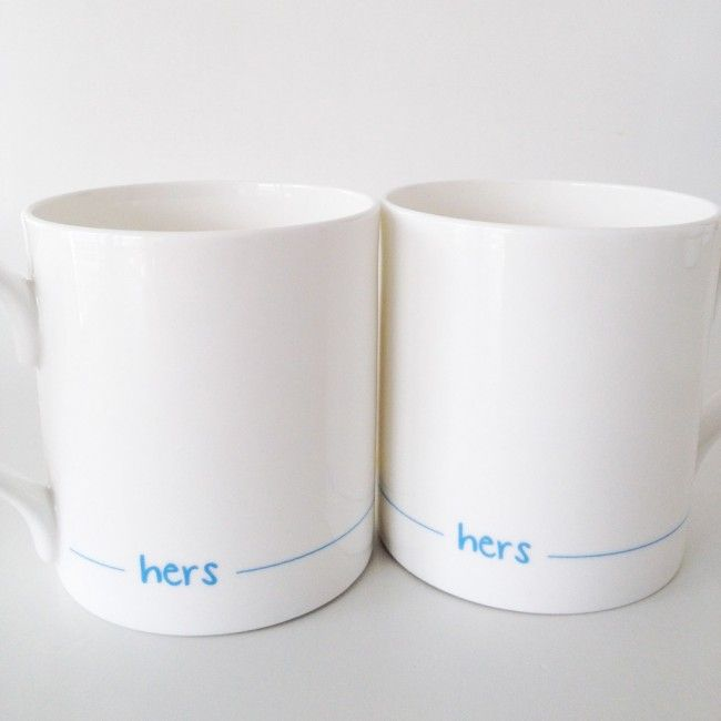Hers and Hers Mugs - Set of Two - For Lesbian Couples, Wedding Gifts - By Jin Designs
