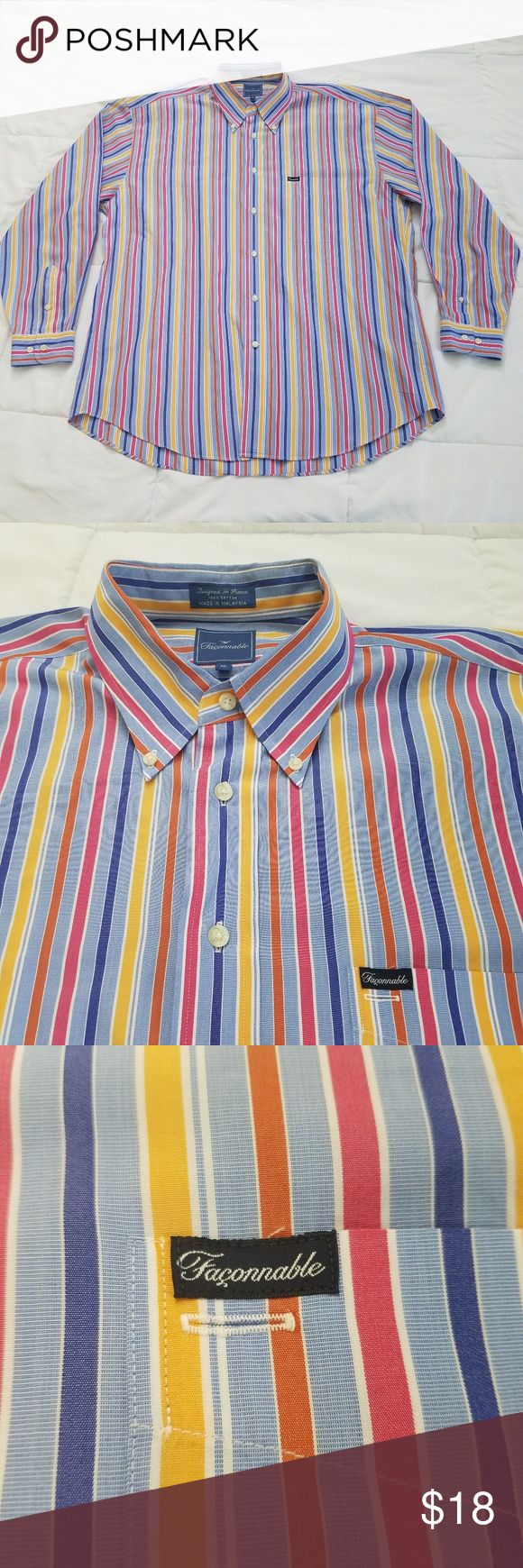 """Faconnable Dress Shirt Men's XL Stripes Good Used Condition  Faconnable Multicolor Striped Dress Shirt Size: XL  Measurements are taken laid flat:  Pit to Pit - 26"""" Shoulder to Shoulder - 23"""" Shoulder to Cuff - 25""""  Shirt comes from a smoke and pet free home. Faconnable Shirts Dress Shirts"""