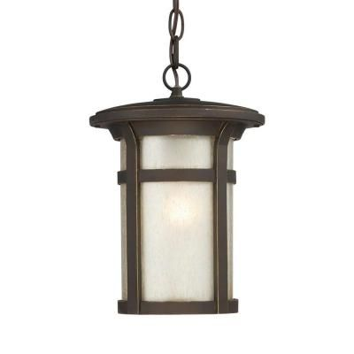 Home Decorators Collection Round Craftsman 1-Light Dark Rubbed Bronze Outdoor Hanging Lantern-23134 - The Home Depot