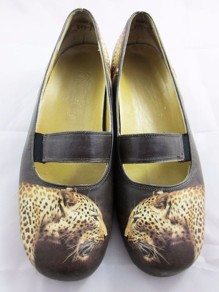 ICON USA WEARABLE ART FLATS Wild Leopard Brown Leather  MARY JANE LOAFERS 6-6.5 #Icon #LoafersMoccasins