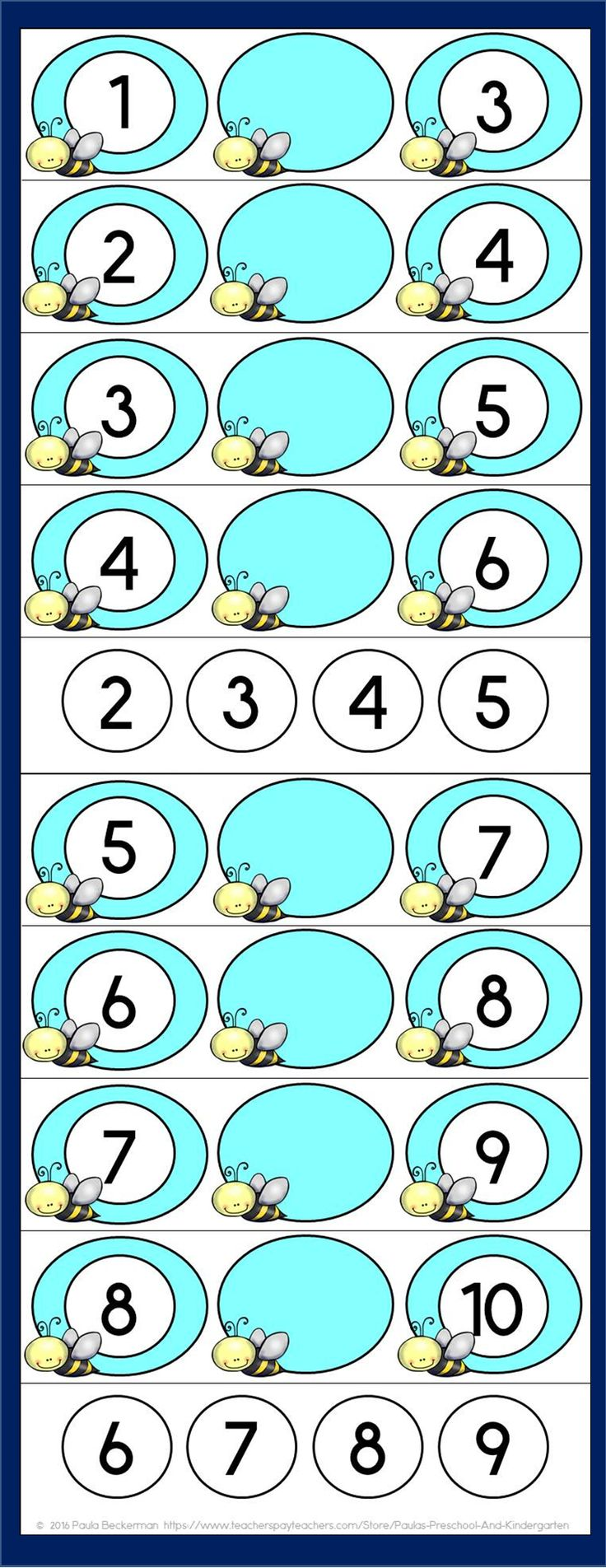 Bee themed counting centers for preschool and kindergarten.  $