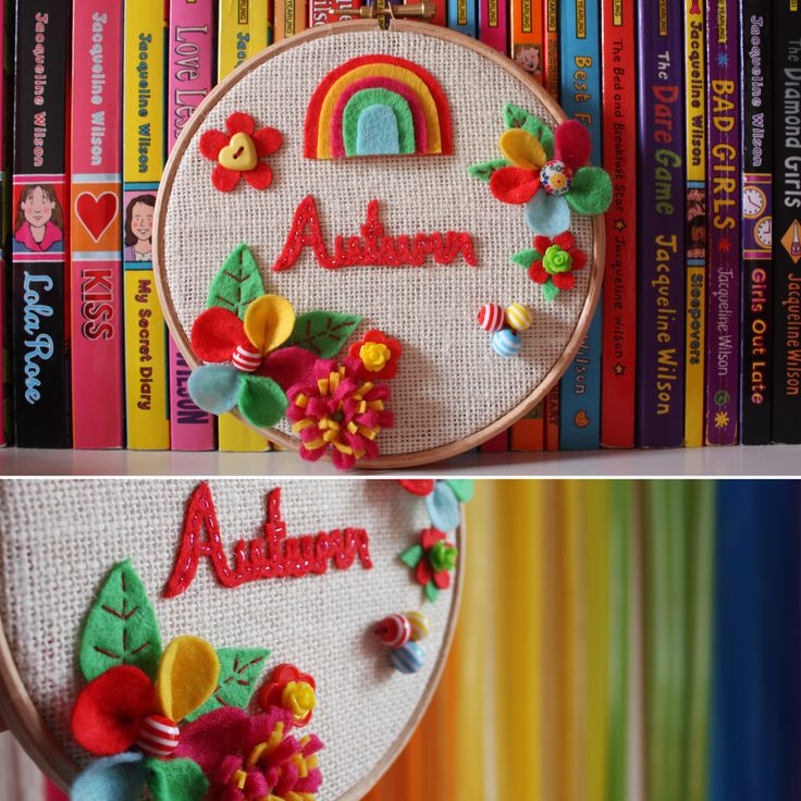 """Looking for a unique personalised gift? How about this embroidery hoop perfect for hanging on the wall. Can be made in any colour scheme you wish, flowers can be customised or even replaced with robots for the boys. Can be embellished with any name. The size of the hoop is 6"""" in diameter. £15.00"""