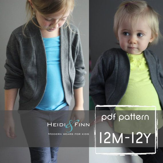 Slouchy Cardigan pattern and tutorial PDF 12m  12y by heidiandfinn, $10.95