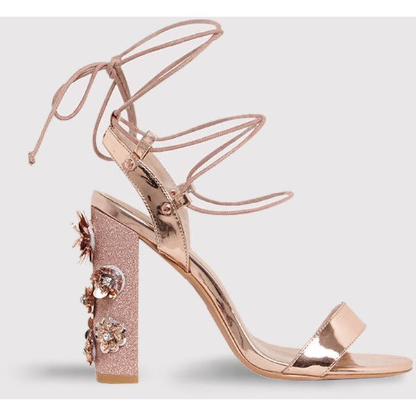Evy Rose Gold Embellished Block Heeled Sandals (820 MXN) ❤ liked on Polyvore featuring shoes, sandals, pink, rose gold shoes, heeled sandals, party sandals, color block shoes and pink heeled sandals