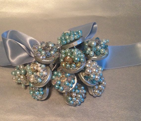 Shower Curtain Hooks Extra Large Turquoise Light Blue Vintage Cluster Earrings
