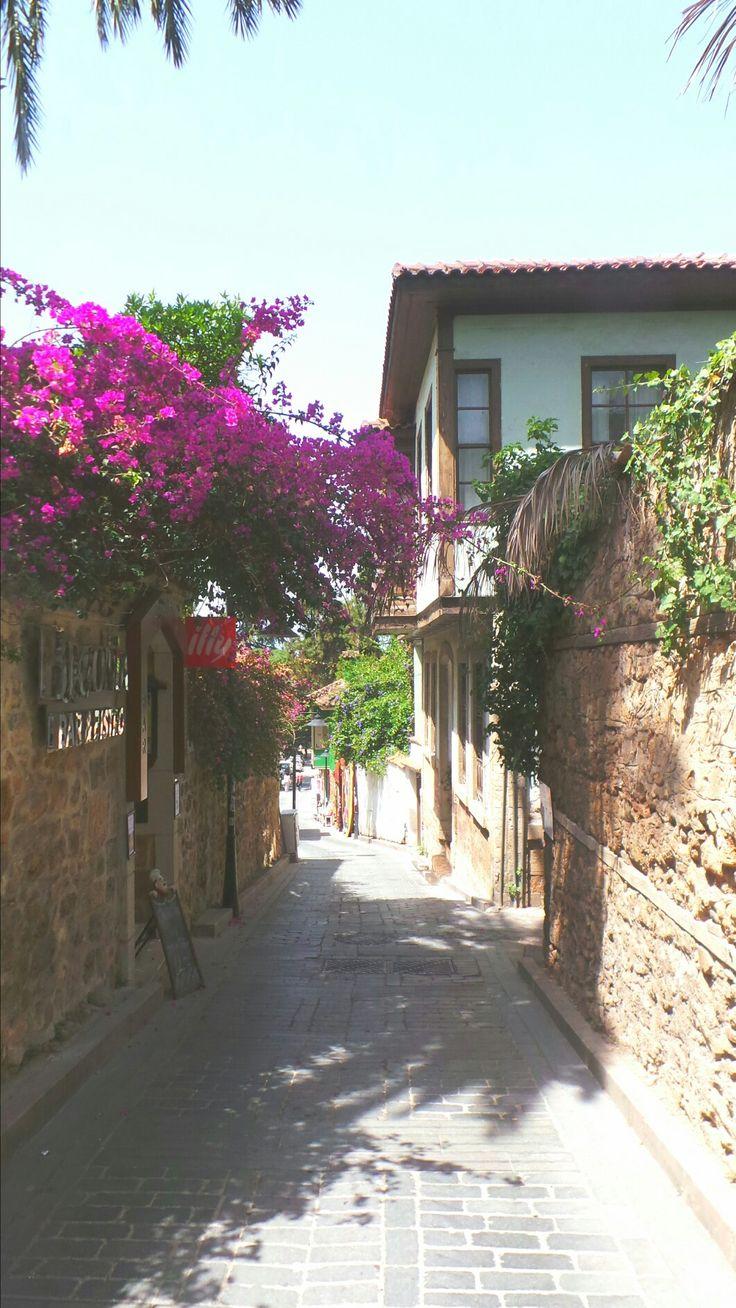 Beautiful narrow streets of old town Antalya, Turkey