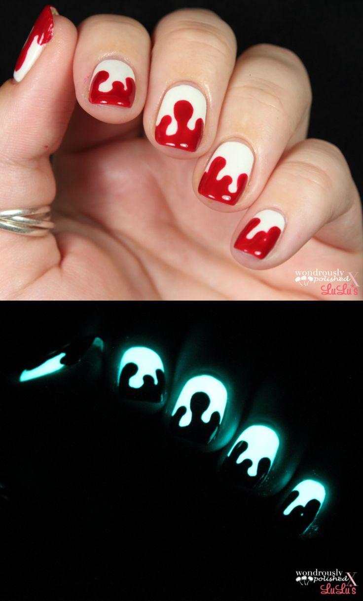 Glow in the dark, blood splatter nail tutorial via lulus.com