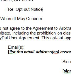 Here Is A Downloadable Template For Opting Out Of PayPal Arbitration Clause