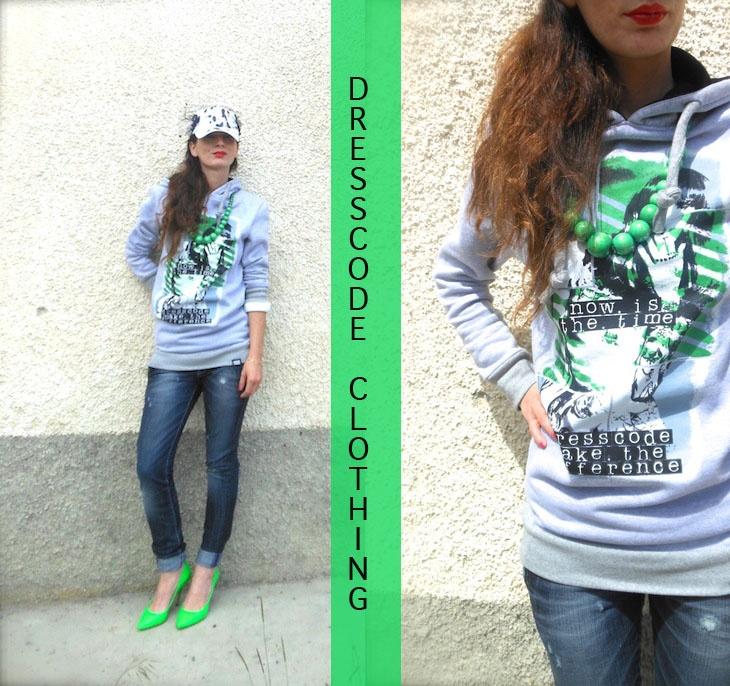 dresscode clothing abbigliamento felpe, outfit verde fluo e grigio, outfit felpa cappuccio, outfit cappello basket, amanda marzolini the fashionamy blog, fashion blogger felpe,