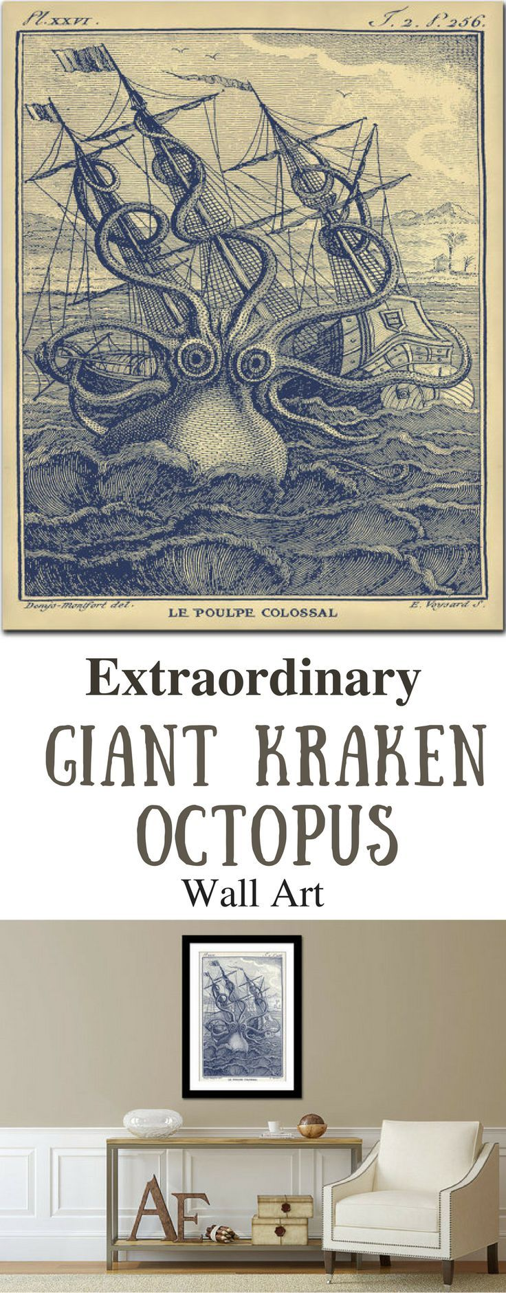 Octopus Print, Kraken Sea Monster Vintage Octopus Print in Marine Blue or in the sepia and aged parchment, 1802 Natural History Print, Octopus Poster Natural History Art Print - octopus print - steampunk -Steampunk  NNT #ad #octopus #vintage #vintagestyle #history #printdesign #seamonster #posterdesign #posterart #WallArt #walldecor #steampunk #wallhanging #steampunkart