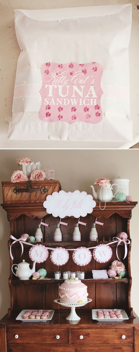 Kitty Cat Party by Loralee Lewis...I'd love to have an old painted hutch for display like this.