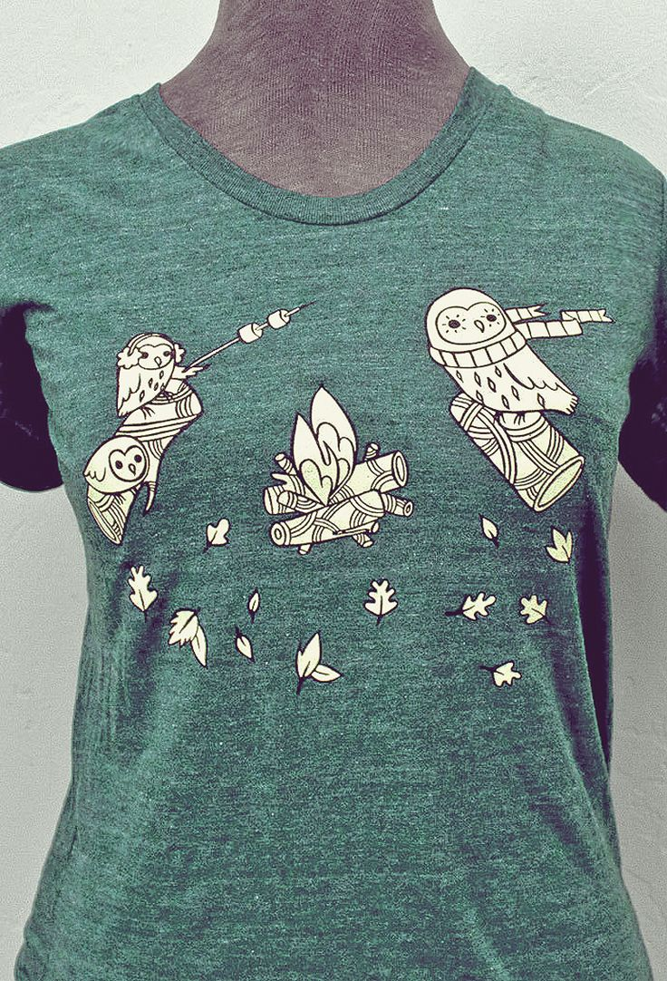Owls roasting marshmallows over a campfire? Yes, please. T-shirt by boygirlparty: https://www.etsy.com/listing/204268213/woodland-owls-t-shirt-campfire-tshirt #EtsyFinds #EtsyGift