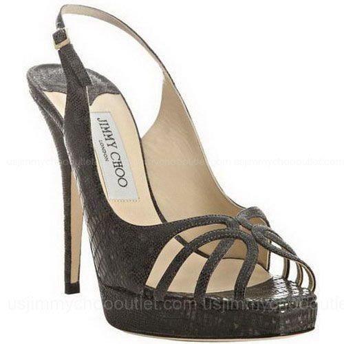 Jimmy Choo Anthracite Lizard Embossed Patent Leah Slingbacks -$145