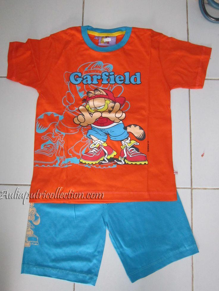 Setelan Kaos Garfield Anak - Orange uk. 6 thn harga @ Rp45.000