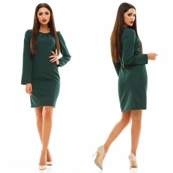 Офисное женское платье с длинным рукавом однотонное темно-зеленое