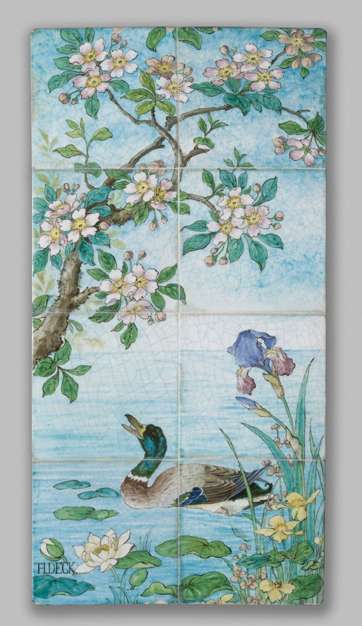 Tile Plaque, Joseph-Théodore Deck and Edmond Lachenal, earthenware with underglaze blue and overglaze enamel decoration, c. 1880