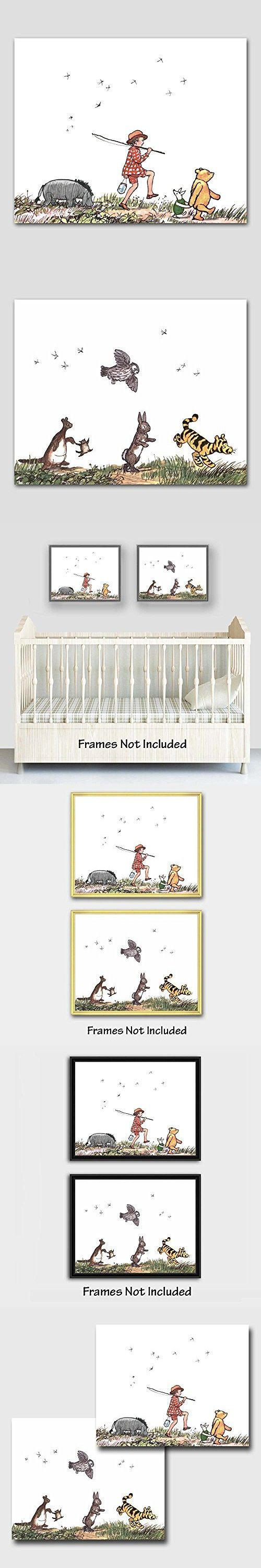 "(Set of 2) Classic Pooh Nursery Wall Art (Winnie the Pooh Decor, Baby Room Prints) ""Animal Parade"" -- Unframed"