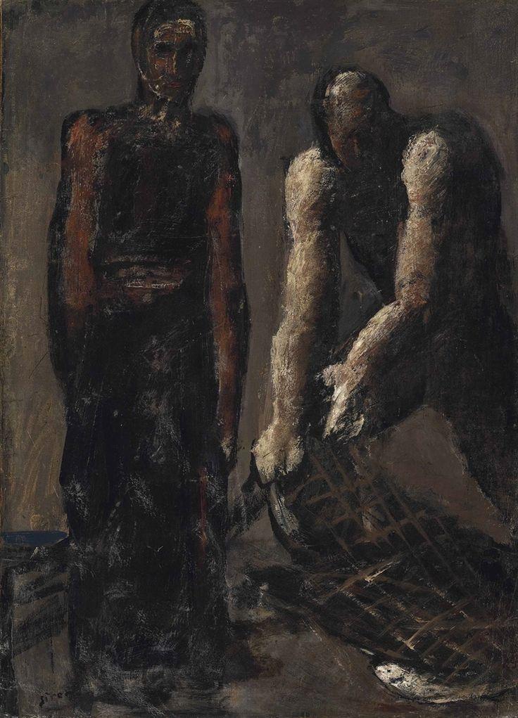 "thunderstruck9: "" Mario Sironi (Italian, 1885-1961), Pescatori [Fishermen], 1928-29. Oil on paper laid down on canvas, 66 x 48 cm. """