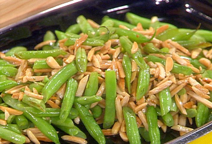 French Cut Green Beans with Almonds and Fried Onions from FoodNetwork.com    These are so good!  Used to make them more but I'm trying to get away from the butter.