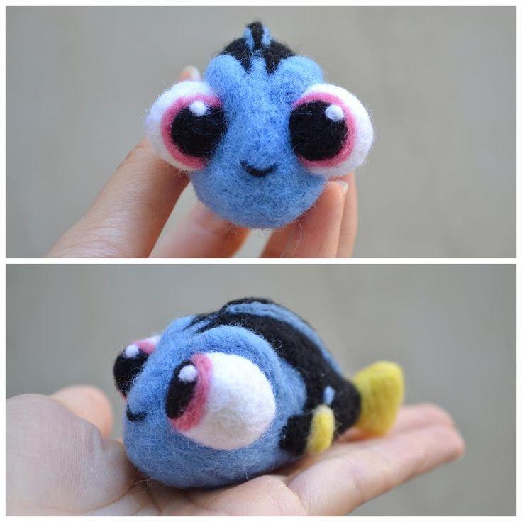 Cute Needle felted project wool animals fish Dory(Via @ochadrop)