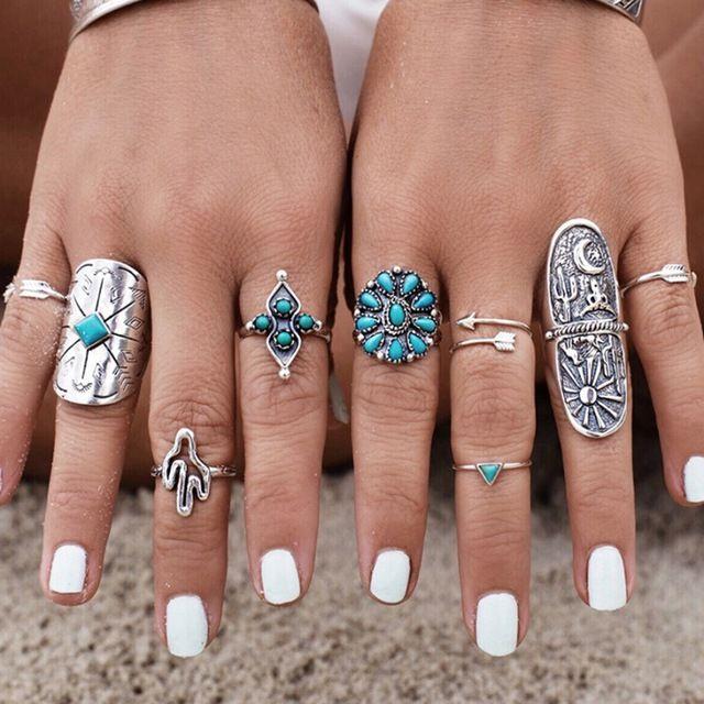9 шт. В Европе Хорошо Продаются Зеленый Камень Богемия anillos ювелирные изделия Серебряный Цвет Кольца Для Женщин бижутерия aros RS1129