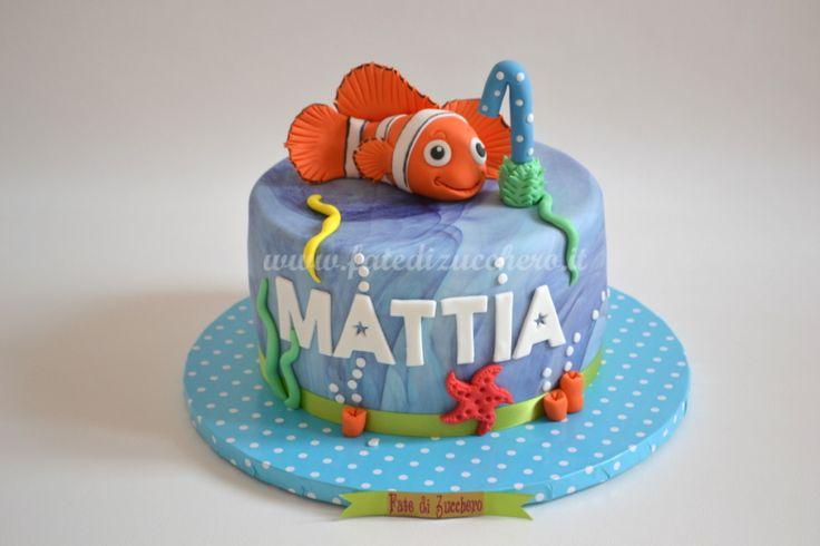 Torta per il Primo Compleanno: con Nemo e copertura effetto mare, interamente…