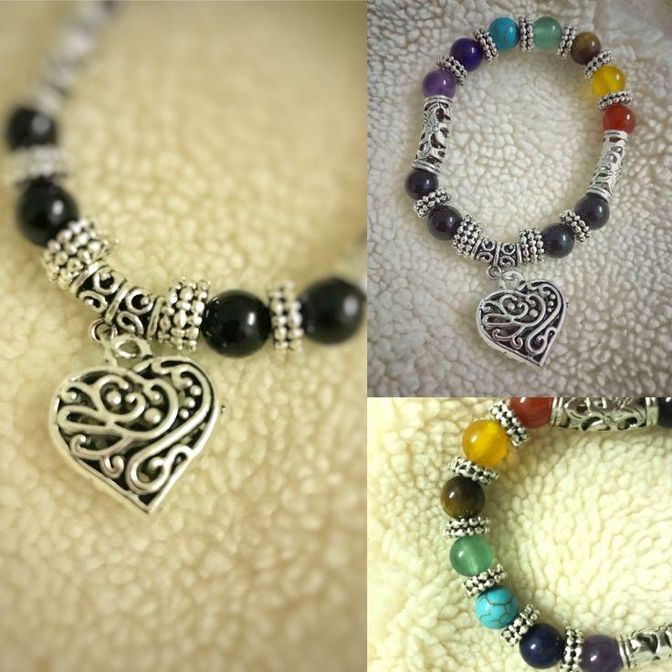 7 colour chakra silver ornaments bracelet