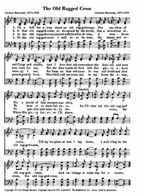 Lively image regarding old rugged cross printable sheet music