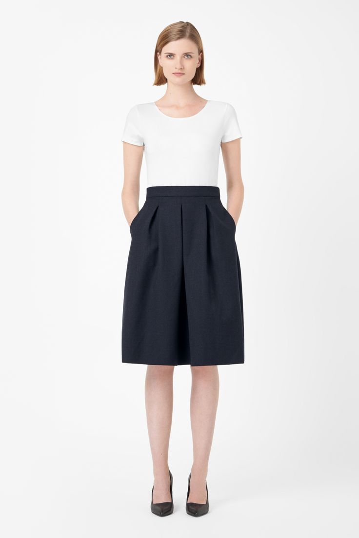 COS Black Pleated wool skirt