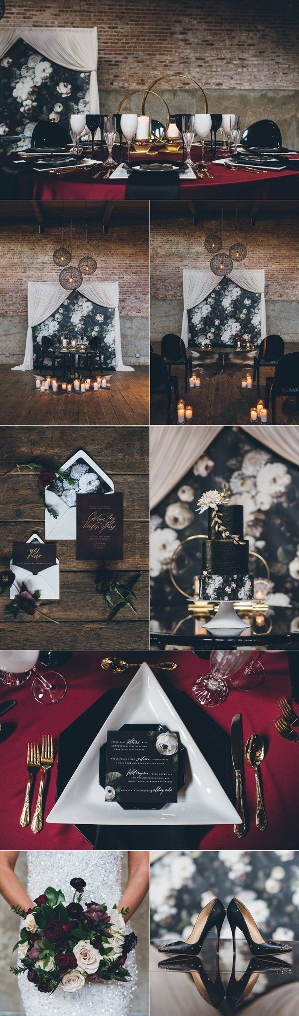 black white and gold industrial wedding ideas / http://www.deerpearlflowers.com/industrial-wedding-theme-ideas/2/