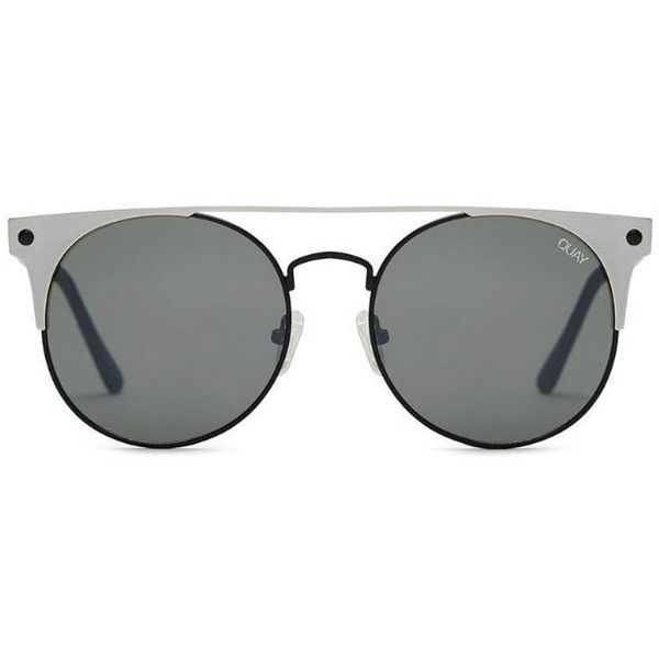 Quay australia the in crowd black silver designer sunglasses (770 SEK) ❤ liked on Polyvore featuring accessories, eyewear, sunglasses, quay eyewear, geometric sunglasses, geometric glasses, metal frame glasses and quay sunglasses
