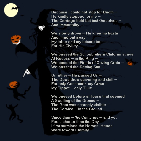an analysis of because i could not stop for death 22032013 because i could not stop for death emily dickinson meaning stanza one stanza three stanza five the poem creates the sense that death is unavoidable.