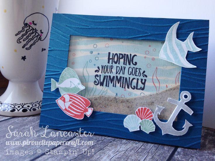 Stampin' Up! ® Demonstrator Sarah Lancaster   ORDER STAMPIN' UP! ONLINE 24/7 HERE: PINKIES BLOG HOP   Seaside Shore Shaker Card