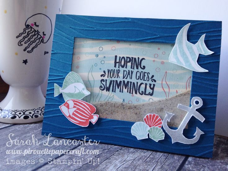 Stampin' Up! ® Demonstrator Sarah Lancaster | ORDER STAMPIN' UP! ONLINE 24/7 HERE: PINKIES BLOG HOP | Seaside Shore Shaker Card