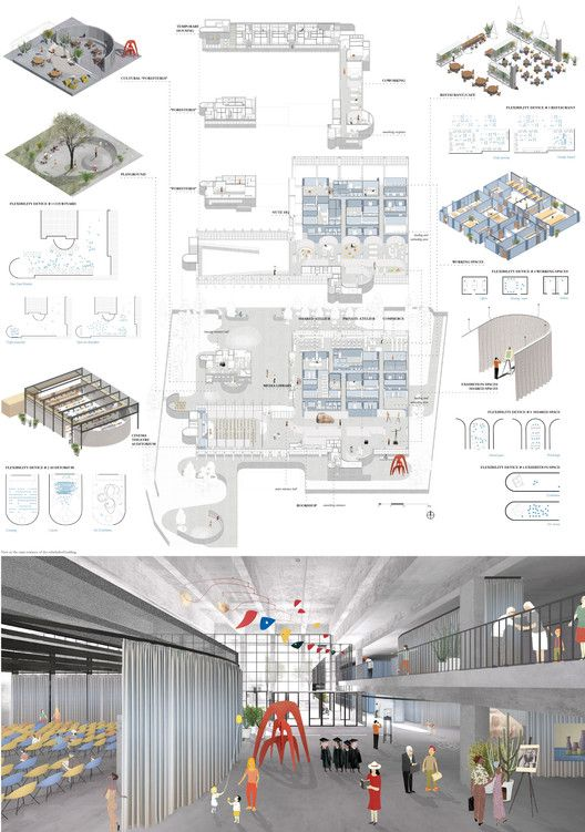 Competition Asks Young Architects to Transform Abandoned Factory into Cultural Center,Second Prize: MiPa (Alessandro Benetti, Francesca Coden, Margherita Locatelli, Emanuele Romani). Image Courtesy of Young Architects Competitions