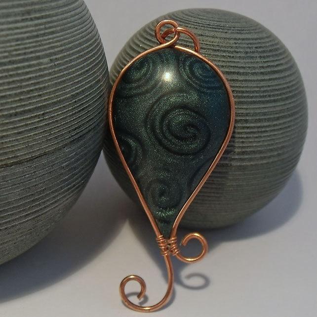 Green Swirl and Copper Wire Pendant